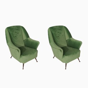 Green Velvet & Brass Lounge Chairs, 1950s, Set of 2
