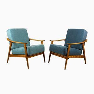 Mid-Century Scandinavian Blue & Turquoise Armchairs, 1960s, Set of 2