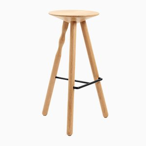 Large Oak Wood Luco Stool by Mobles114