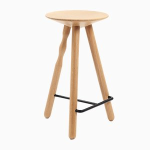 Medium Beech Wood Luco Stool by Mobles114