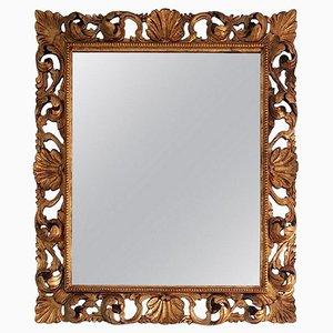 Italienischer Vintage Spiegel mit handgeschnitztem & vergoldetem Rahmen