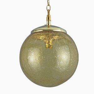 Lampe à Suspension Vintage Tchèque en Verre Bullé