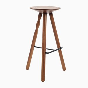 Luco Oak & Stained Walnut Stool by Mobles114
