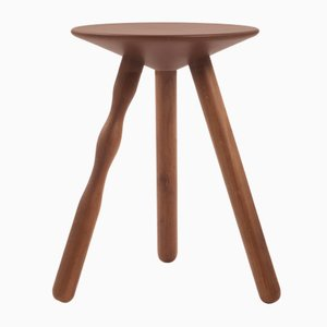 Small Oak and Stained Walnut Luco Stool by Mobles114