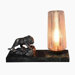 Art Deco French Marble Table Lamp with Lion, 1930s