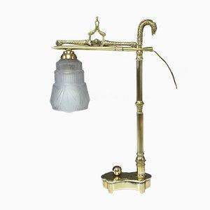 Lámpara de mesa francesa Art Déco de latón, años 30
