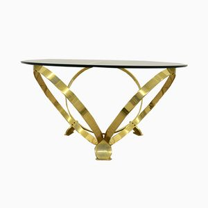 Hollywood Regency Diamond Brass Coffee Table from Ronald Schmitt, 1970s