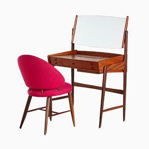 Tocador danés vintage con silla, años 60