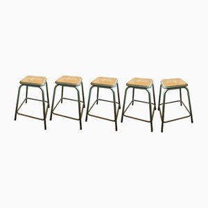 Vintage Industrial French Stools, Set of 5