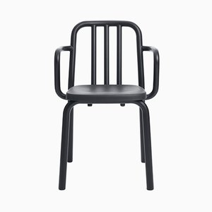 Black Aluminum Tube Chair with Arms by Mobles114