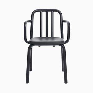 Schwarzer Tube Stuhl aus Aluminium mit Armlehnen von Mobles114