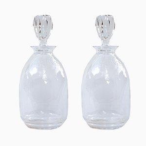 Decantadores de cristal de René Lalique, años 70. Juego de 2