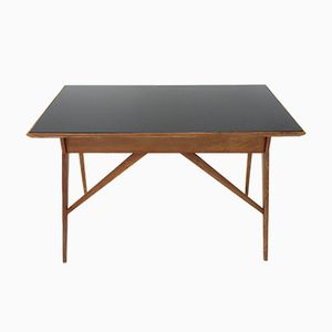 Mid-Century Italian Desk with Black Glass Top, 1950s