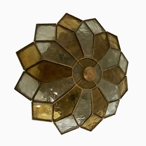 Stained Glass Flushmount Light, 1950s