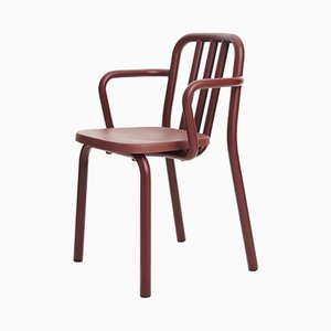 Chestnut Brown Aluminum Tube Chair with Arms by Mobles114