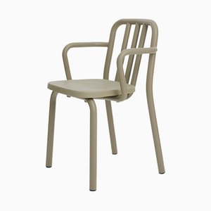 Olive Green Aluminum Tube Chair with Arms by Mobles114