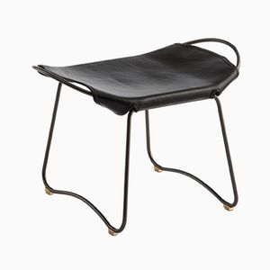 Black Steel and Vegetable Tanned Leather HUG Footstool by Jover+Valls