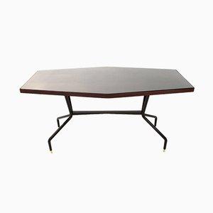 Mesa de comedor de teca y vidrio, años 50