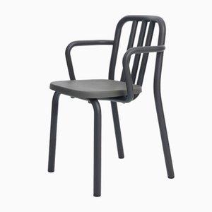 Anthrazitgrauer Tube Stuhl aus Aluminium mit Armlehnen von Mobles114