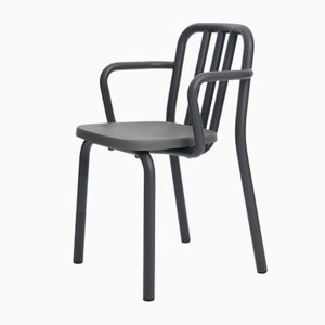 Grey Anthracite Aluminum Tube Chair with Arms by Mobles114
