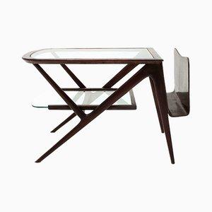 Mesa de centro de teca y vidrio, años 50