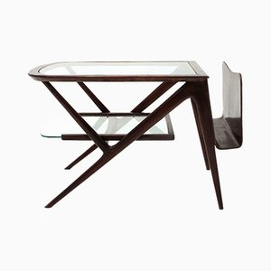 Table Basse en Verre et Teck, 1950s
