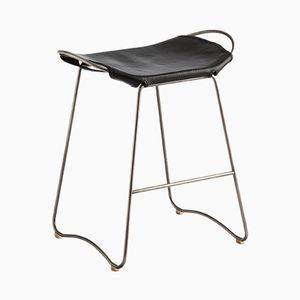 Steel and Vegetable Tanned Leather HUG Counter Stool by Jover+Valls