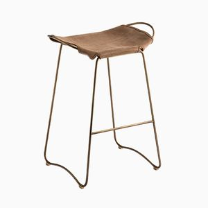 Aged Brass Steel and Suede Leather HUG Bar Stool by Jover+Valls