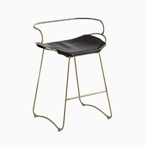 Aged Brass Steel and Vegetable Tanned Leather HUG Arm Counter Stool by Jover+Valls