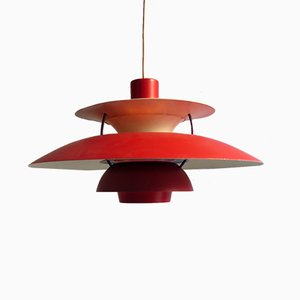Lámpara colgante PH5 vintage en rojo de Poul Henningsen para Louis Poulsen