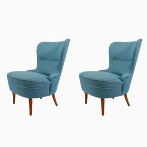 Swedish Lounge Chairs in Blue Wool on Oak Legs, 1950s, Set of 2