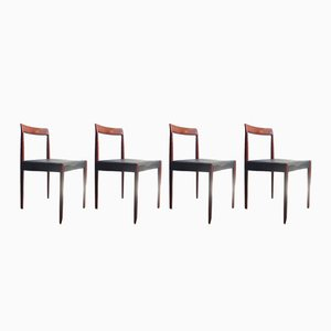Vintage Rosewood Dining Chairs with Black Leather Seats from Lübke, Set of 4