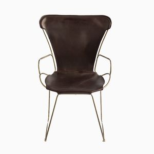 Aged Brass Steel and Vegetable Tanned Leather HUG Armchair by Jover+Valls