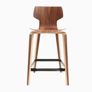Gràcia Walnut Wood Stool by Mobles114