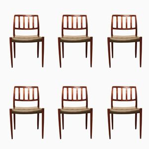 Model 83 Chairs by Niels O. Møller for J.L. Møllers Møbelfabrik, 1960s, Set of 6