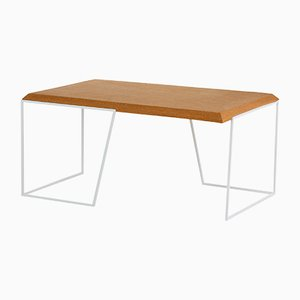 Grão #1 Center Table in Light Cork with White Legs by Mendes Macedo for Galula
