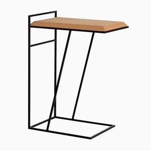 Grão #3 Side Table in Light Cork with Black Legs by Mendes Macedo for Galula
