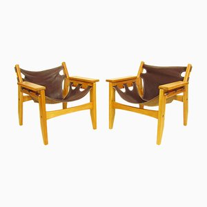 Kilin Chairs in Parana Pine & Leather by Sergio Rodrigues for OCA, 1970s, Set of 2