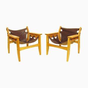 Kilin Stühle aus Parana Pinienholz & Leder von Sergio Rodrigues für OCA, 1970er, 2er Set