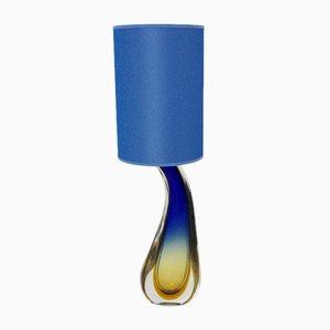 Lámpara de mesa italiana Mid-Century de vidrio azul de Flavio Poli para Seguso, años 50