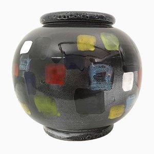Schwarze Vintage Deruta Keramikvase
