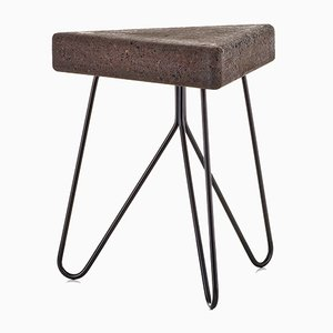 Três Stool in Dark Cork with Black Legs by Mendes Macedo for Galula