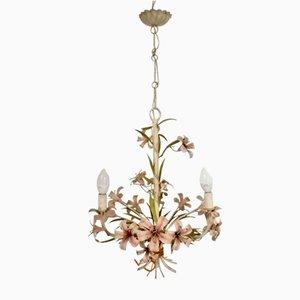 Lámpara de araña italiana vintage con flores esmaltadas