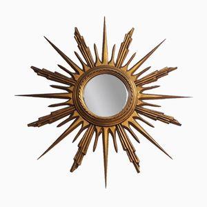 Espejo en forma de sol Mid-Century de madera dorada, años 50