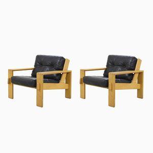 Vintage Bonanza Stühle aus schwarzem Leder von Esko Pajamies für Asko, 2er Set