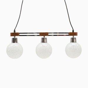 Lámpara colgante de palisandro y metal cromado con tres luces y globos de vidrio, años 60