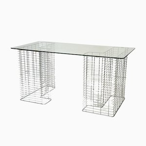 Chromed Wire & Glass Desk, 1980s