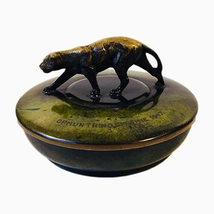 Art Deco Bronze Trinket Box with Cougar by Holger Fridericias, 1930s