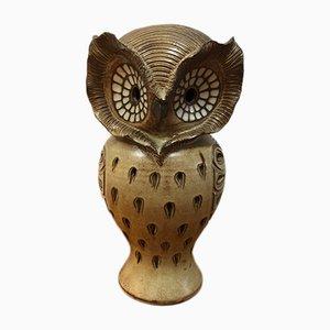 Lampada in ceramica a forma di gufo, anni '70