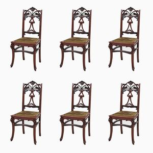 French Art Nouveau Chairs in Mahogany, 1900s, Set of 6